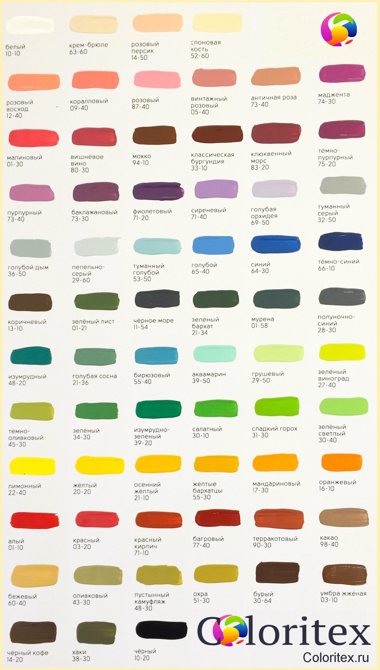 Таблица красок красителей для свечей